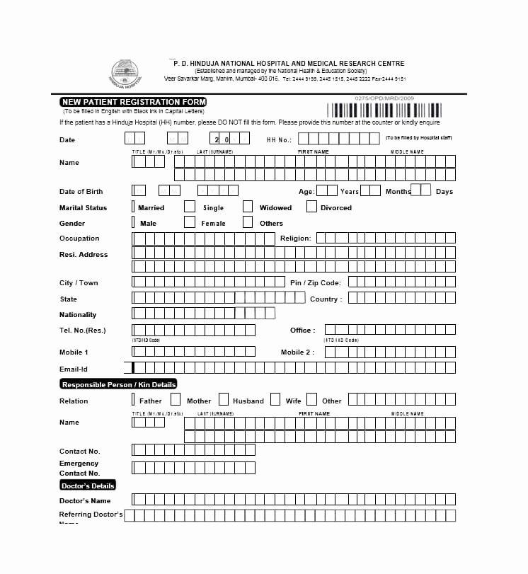 Patient Registration form Template Beautiful 44 New Patient Registration form Templates Printable