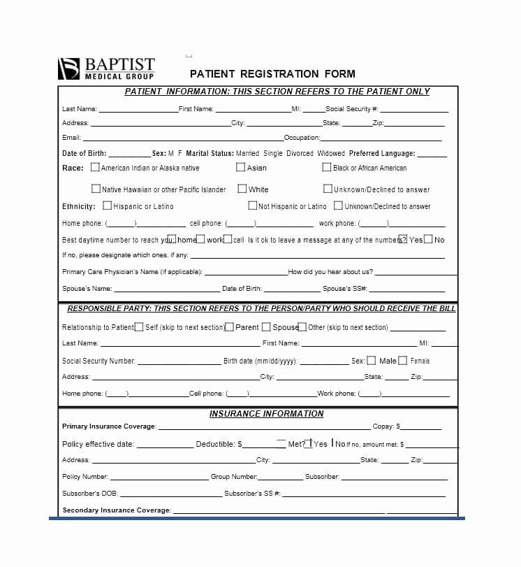 Patient Registration form Template Inspirational 44 New Patient Registration form Templates Printable