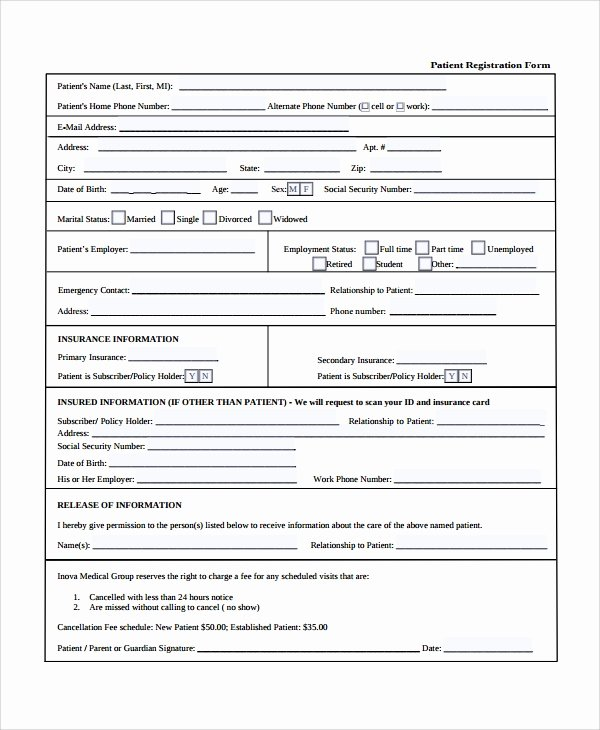 Patient Registration form Template Lovely Sample Patient Registration form 8 Free Documents