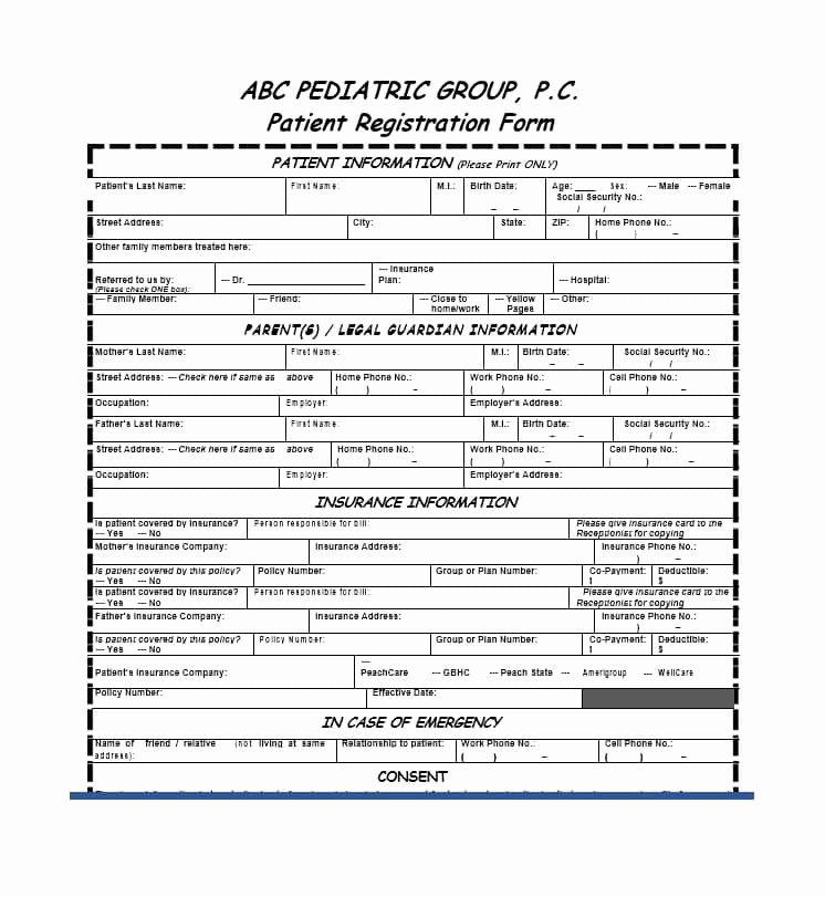 Patient Registration form Template Unique 44 New Patient Registration form Templates Printable