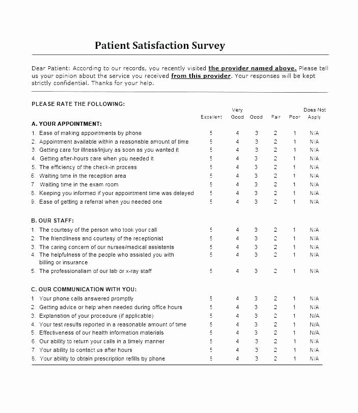 Patient Satisfaction Survey Template Fresh Patient Survey Template Health Services Patient