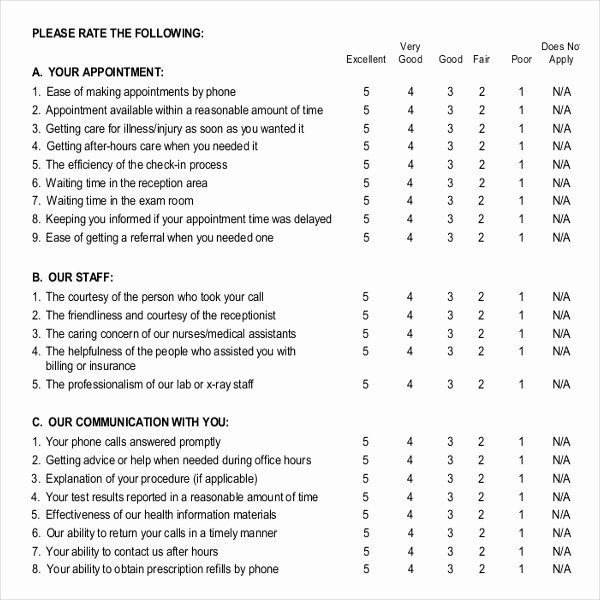 Patient Satisfaction Survey Template Inspirational 9 Patient Survey Template Word Pdf