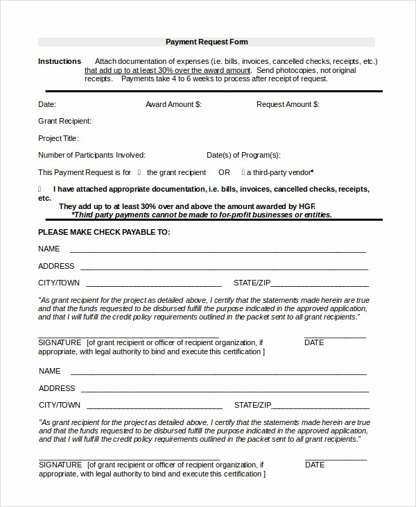Payment Request form Template Fresh 8 Sample Payment forms