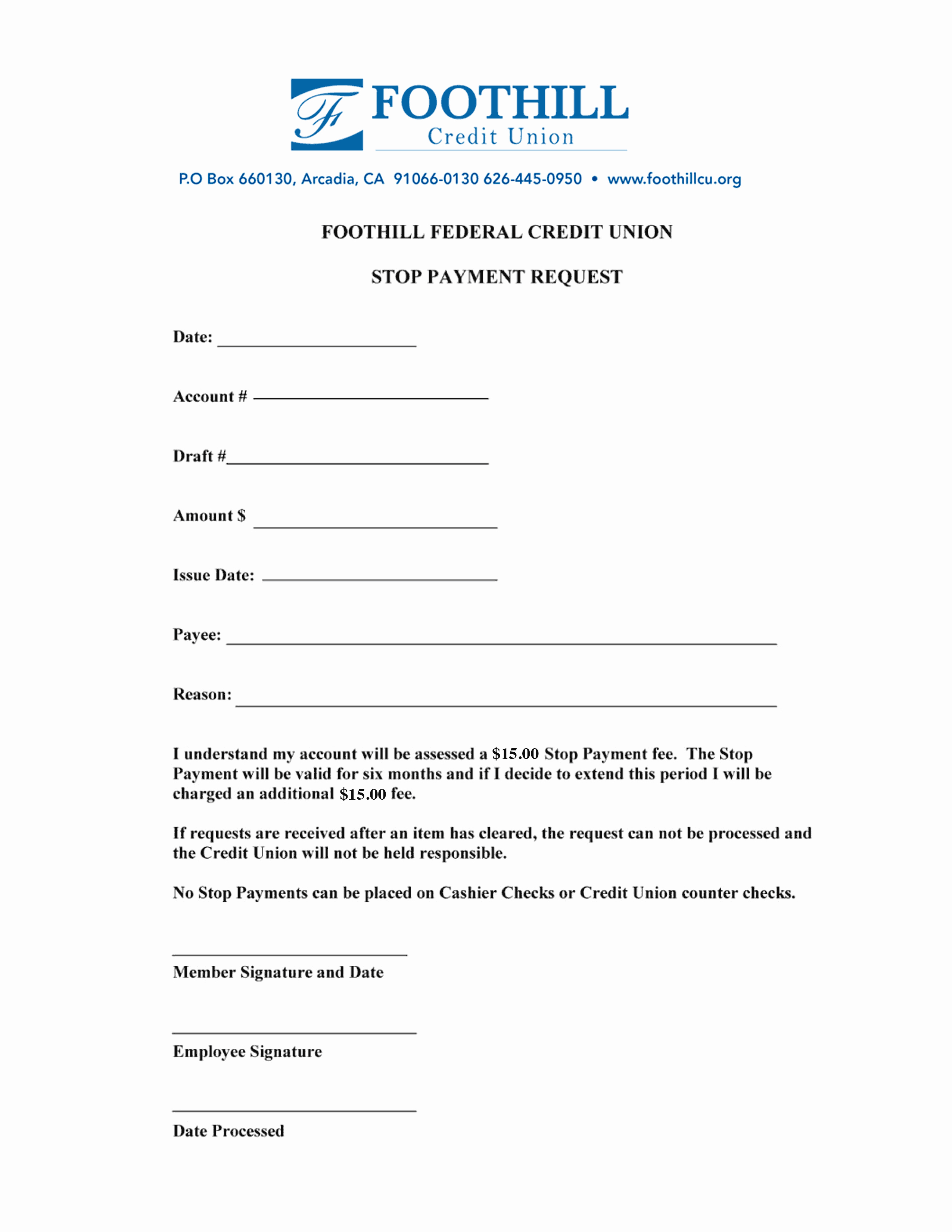 Payment Request form Template Unique Foothill Printable forms Foothill Credit Union