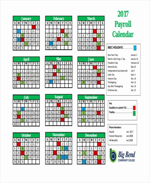 Payroll Calendar Template 2017 Fresh 7 Payroll Calendar Templates Sample Example