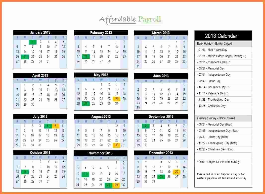 Payroll Calendar Template 2017 Fresh Semi Monthly Payroll Calendar 2018 Template Free