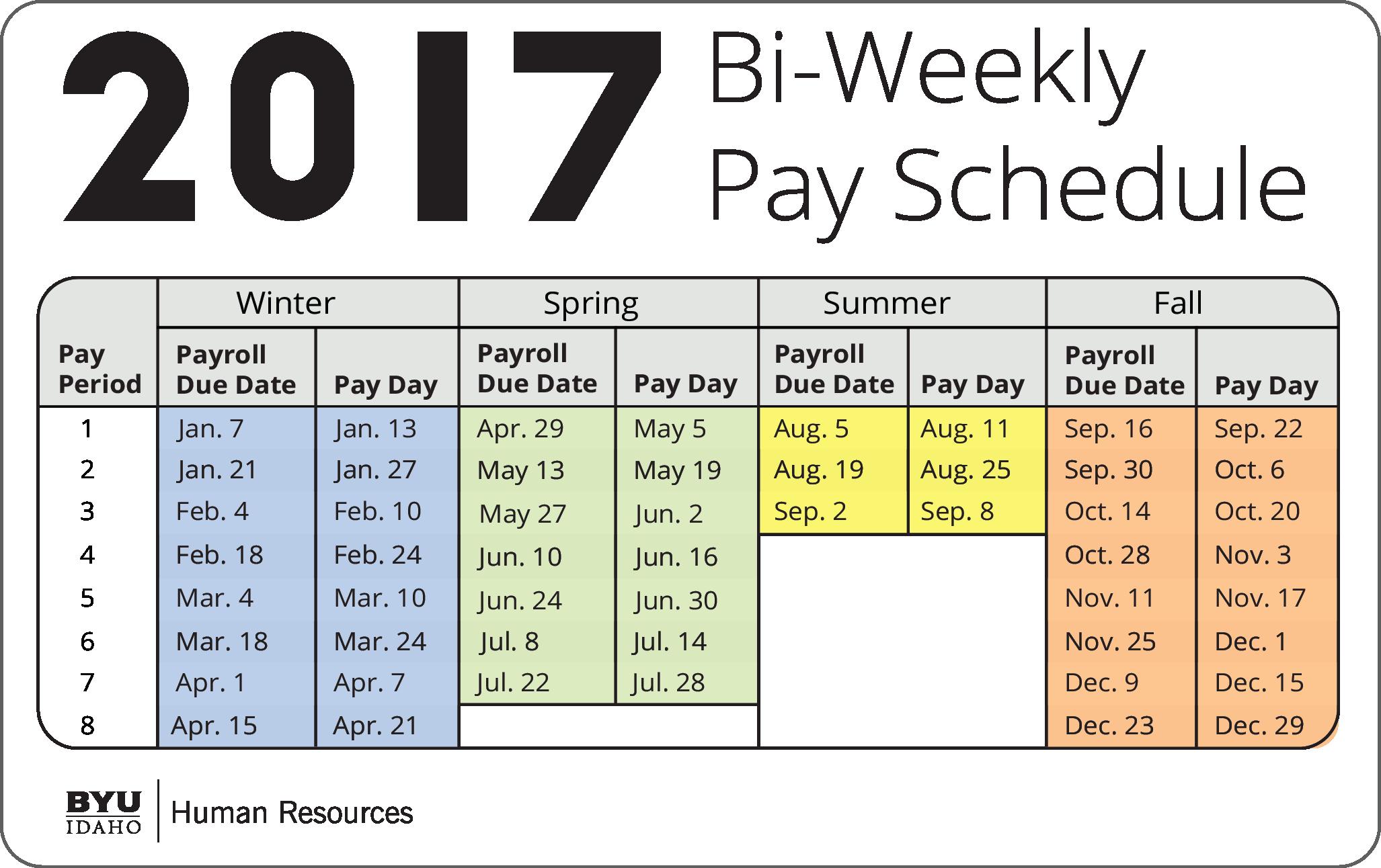 Payroll Calendar Template 2017 New December Bi Weekly Calendar 2017