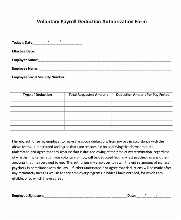 Payroll Change form Template Beautiful Employee Payroll Deduction Authorization form Template