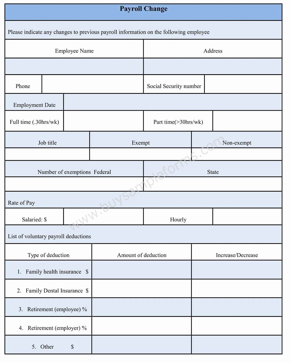 Payroll Change form Template Best Of Payroll Change form Word Document