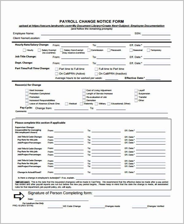 Payroll Change form Template Elegant Change form Template