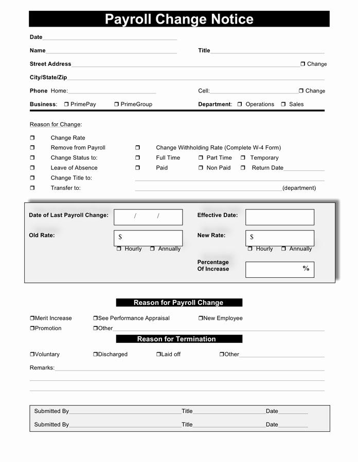Payroll Change form Template Elegant Payroll Change form Free Documents for Pdf