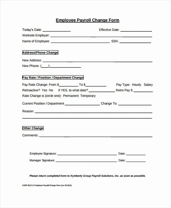 Payroll Change form Template Lovely Change form Template