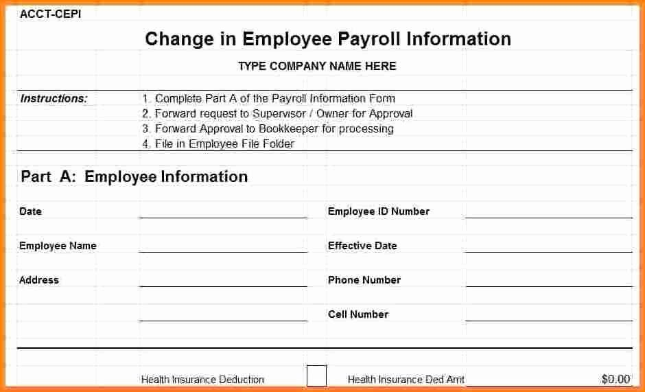 Payroll Change form Template New 8 Employee Payroll form