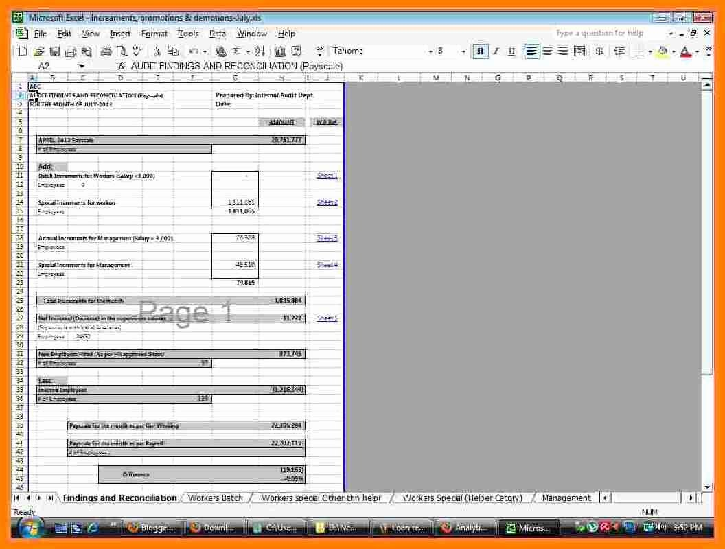 Payroll Reconciliation Excel Template New 9 Payroll Reconciliation Template