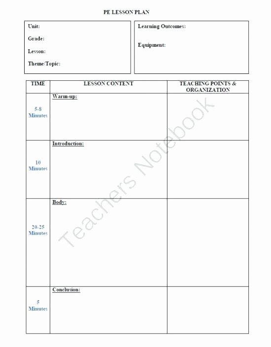 Pe Lesson Plan Template Best Of Simple Physical Education Lesson Plan Template Elementary