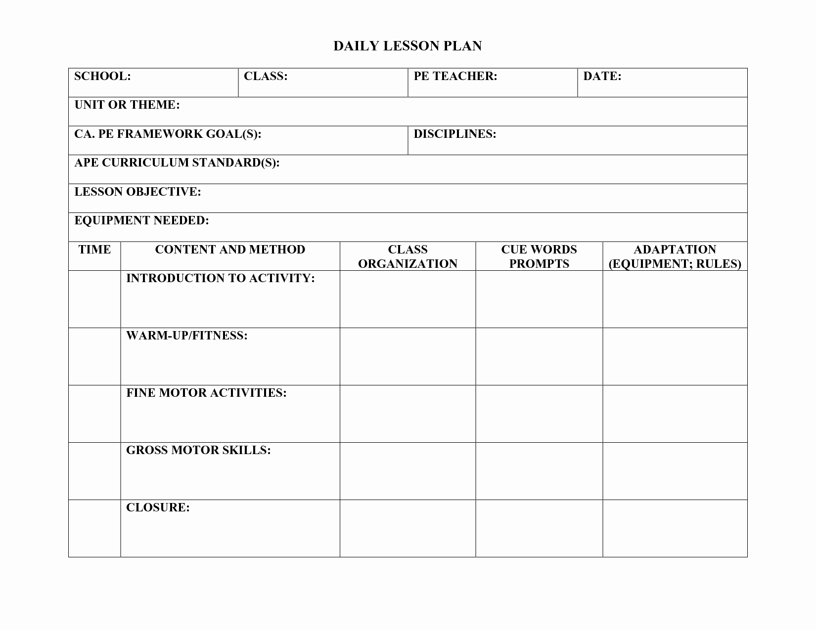 Pe Lesson Plan Template New Pe Lesson Plan Template Teachers Pinterest