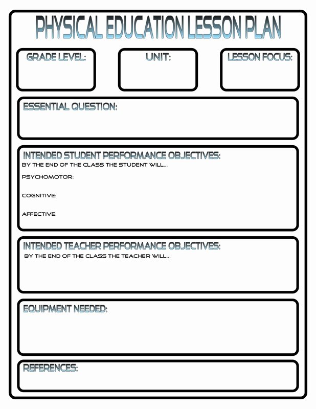 Pe Lesson Plan Template Unique Lesson Plans Phys Ed Review