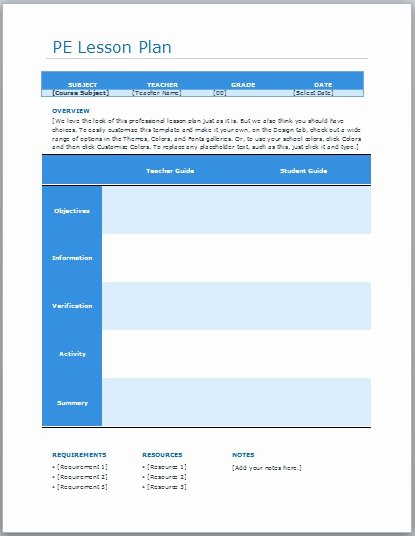 Pe Lesson Plan Template Unique Physical Education Lesson Plan Templates Free