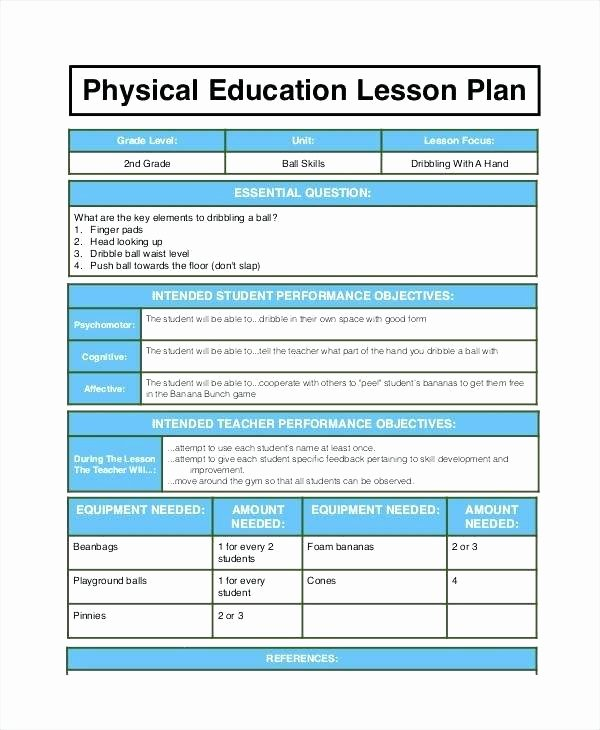 Pe Lesson Plan Template Unique Weekly Plan Template for Teachers – Bleachbathfo