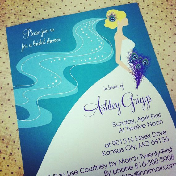 Peacock Invitations Template Free Awesome Items Similar to Peacock Bridal Shower Bachelorette