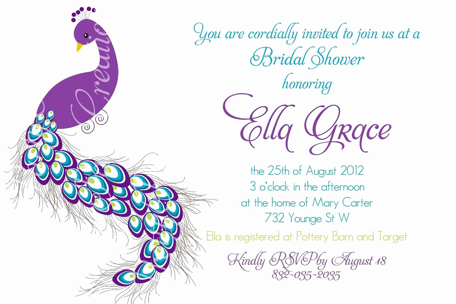 Peacock Invitations Template Free Awesome Pretty Peacock Invitation Birthday Bridal Shower Baby