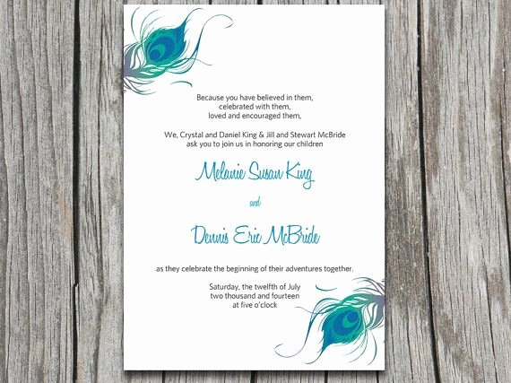 Peacock Invitations Template Free Best Of Instant Download Peacock Wedding Invitation Microsoft Word