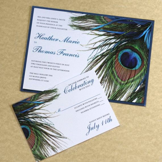 Peacock Invitations Template Free Fresh Peacock Feather Modern Wedding Invitation by