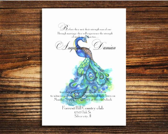 Peacock Invitations Template Free Inspirational 13 Peacock Wedding Invitations Psd Jpg Indesign
