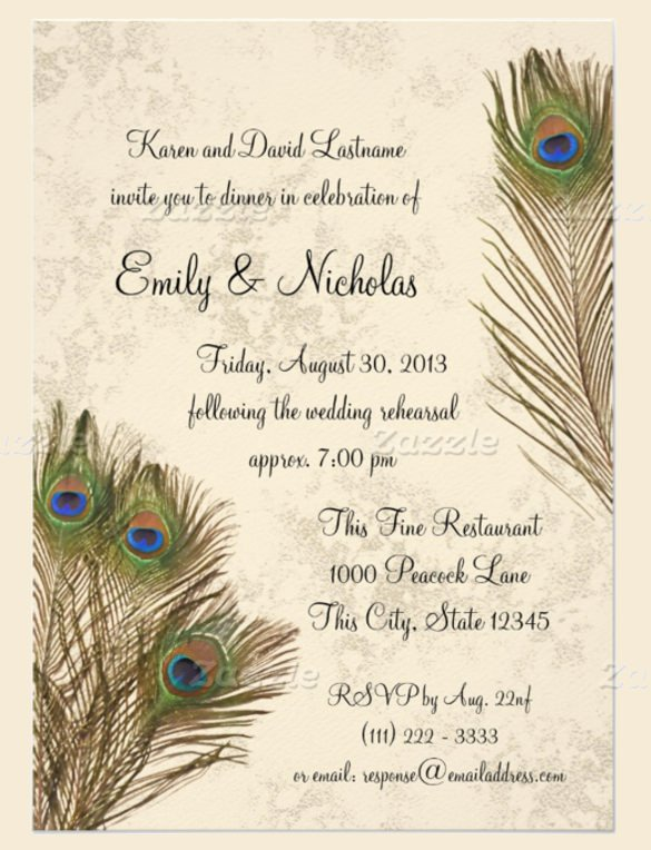 Peacock Invitations Template Free Lovely 23 Peacock Wedding Invitation Templates – Free Sample