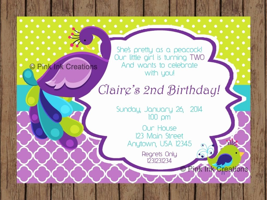 Peacock Invitations Template Free Lovely Peacock Birthday Invitations Cobypic