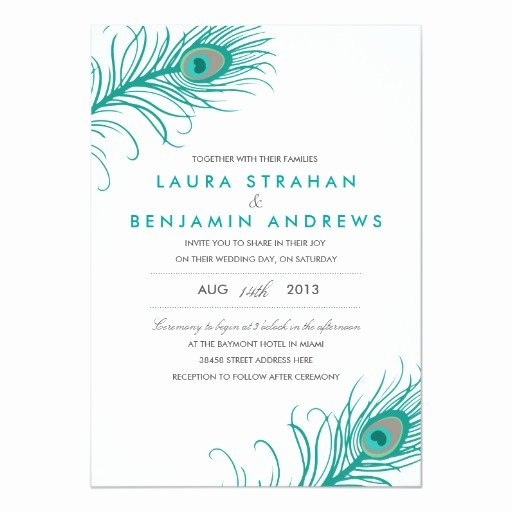 Peacock Invitations Template Free Luxury Elegant Peacock Wedding Invitation