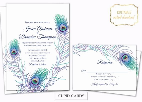 Peacock Invitations Template Free Luxury Peacock Feather Wedding Invite Templates Editable Printable