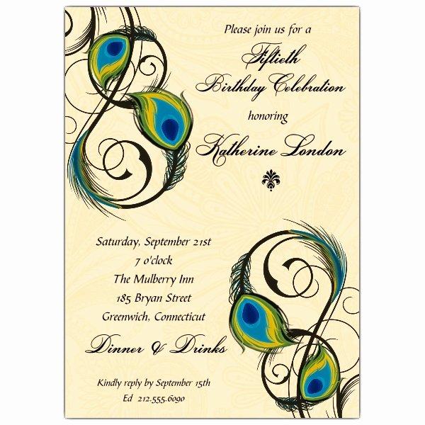 Peacock Invitations Template Free Luxury Peacock Feathers Birthday Invitations