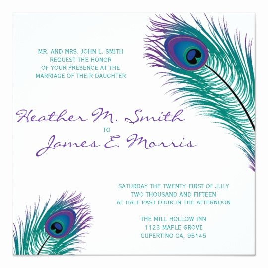 Peacock Invitations Template Free New the Classy Peacock Wedding Invitation