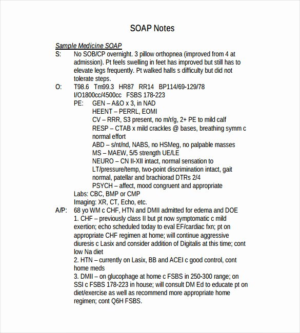 Pediatric soap Note Template Awesome soap Note Template – 9 Free Word Pdf format Download
