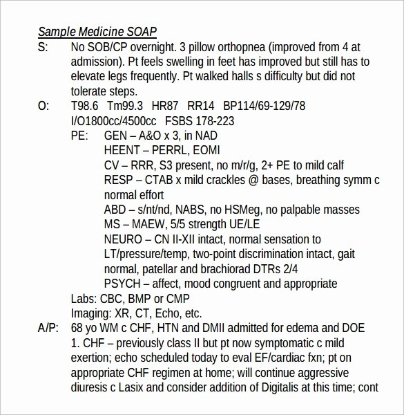 Pediatric soap Note Template Elegant 15 soap Note Examples Free Sample Example format