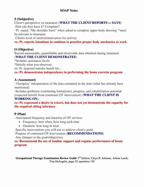 Pediatric soap Note Template Lovely Sample Occupational therapy soap Note Google Search