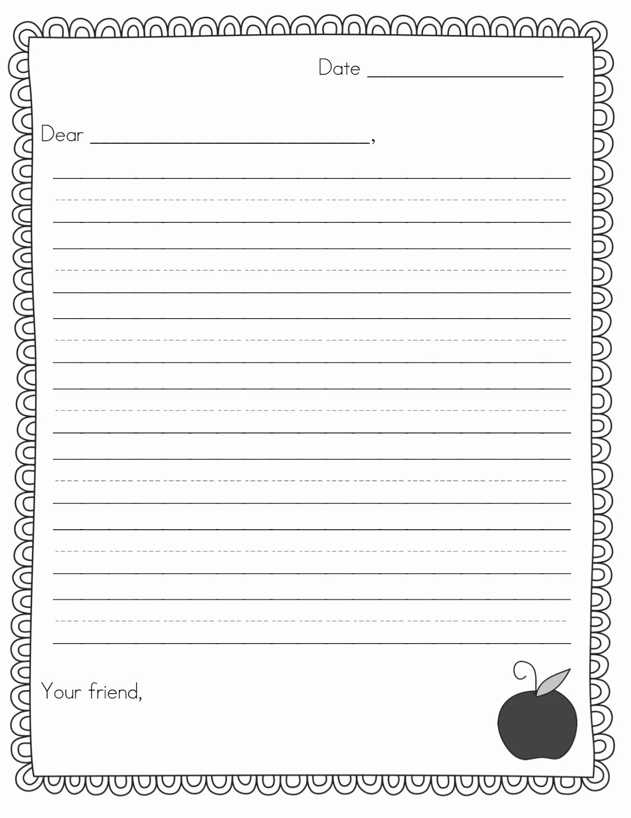 Pen Pal Letter Template Inspirational Friendly Letter Template for 2nd Grade