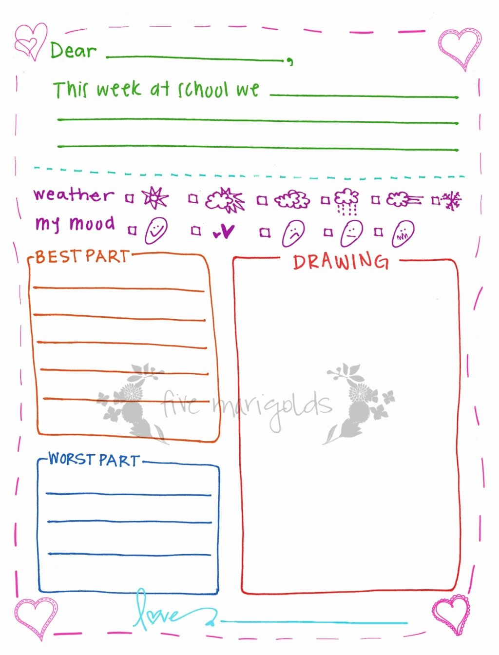 Pen Pal Letter Template Lovely Free Printable Letter Writing Templates for Grandma Pen