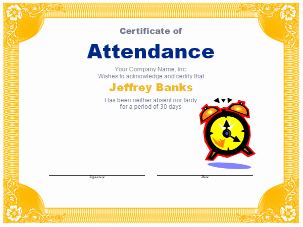 Perfect attendance Award Template Awesome Free Award Templates