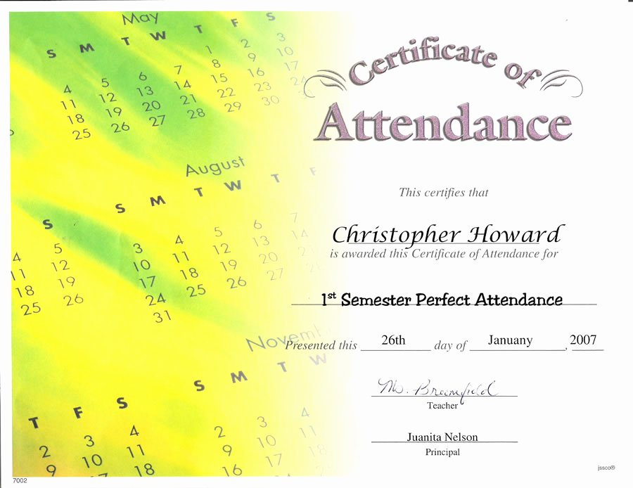 Perfect attendance Award Template Best Of Best S Of Perfect attendance Certificate Printable