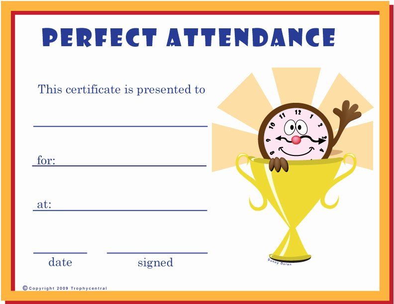 Perfect attendance Award Template Best Of Free Perfect attendance Certificates Certificate Free