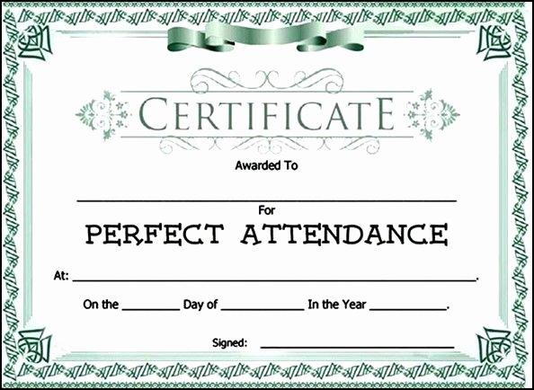 Perfect attendance Award Template Fresh attendance Award Certificate Template