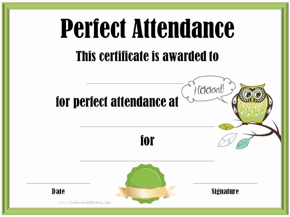 Perfect attendance Award Template Inspirational Perfect attendance Award Certificates
