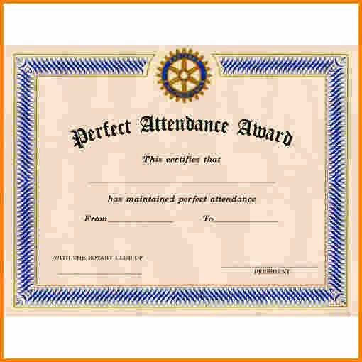 Perfect attendance Award Template Inspirational Perfect attendance Certificate