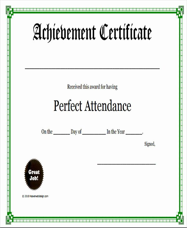 Perfect attendance Award Template Lovely 31 Free Award Certificates