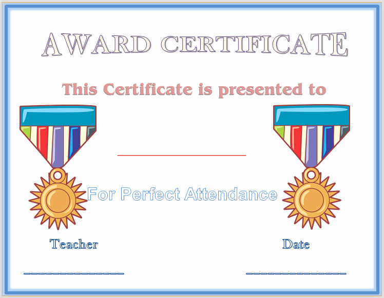 Perfect attendance Award Template Lovely Save Word Templates