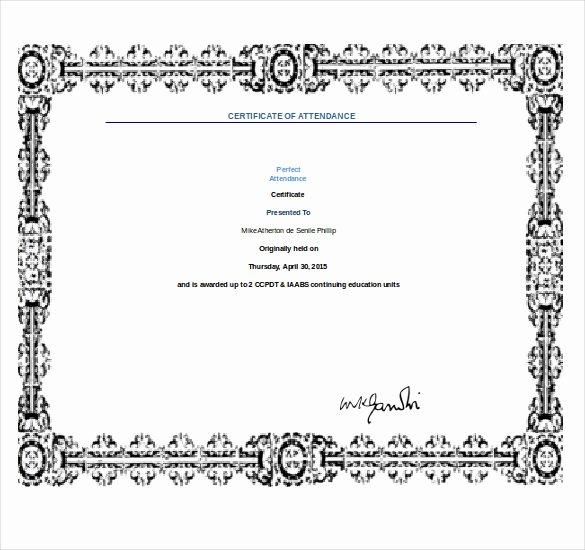 Perfect attendance Award Template Luxury 10 Word Award Templates Free Download