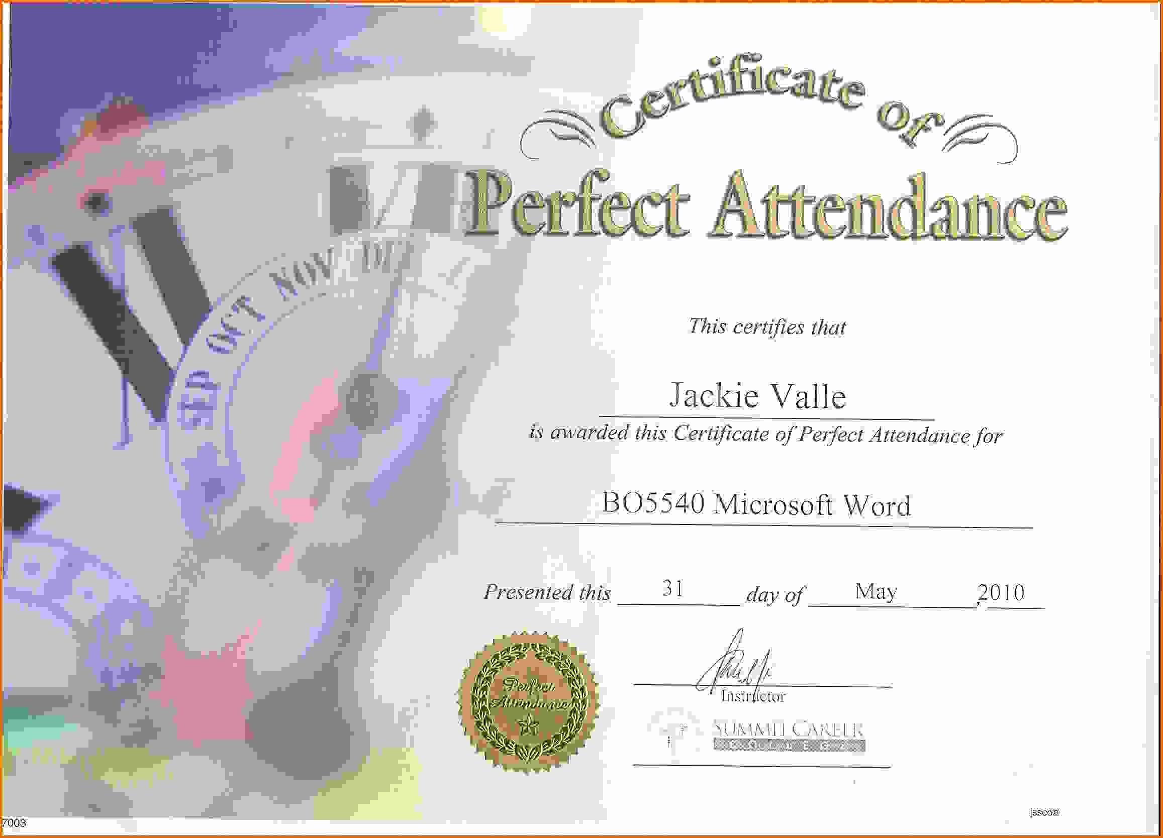 Perfect attendance Award Template Luxury Perfect attendance Certificatereference Letters Words