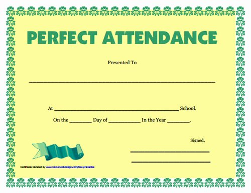 Perfect attendance Award Template Luxury School Certificate Template 35 Download Documents In